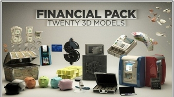 CINEMA 4D 金钱模型包合集下载 The Pixel Lab 3D Financial Pack